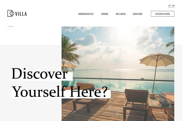 Web design concept for Villa Resort.